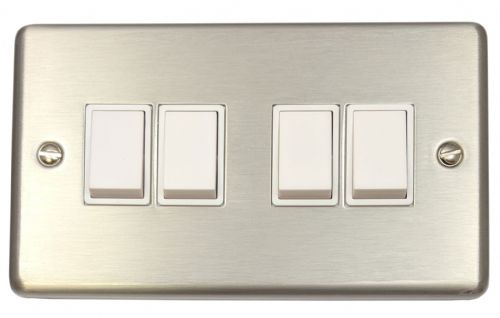 G&H CSS4W Standard Plate Brushed Steel 4 Gang 1 or 2 Way Rocker Light Switch